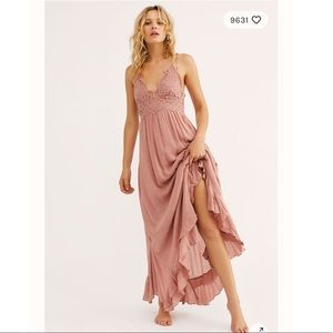 Free People One Adell Maxi Slip Dress in Rose